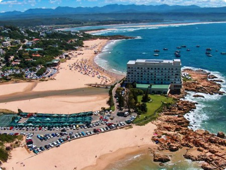 Plettenberg Bay on the Garden Route with a river, lagoon, bay and white beaches.