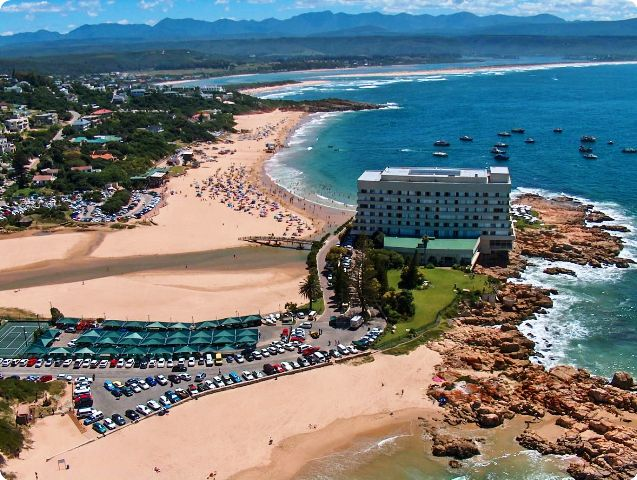 Plettenberg bay on the garden route with a river lagoon bay and